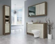 Bathroom Fitted Furniture 1400mm Truffle Brown Davos Oak / Cream Gloss Dh7 With