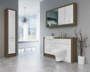 Bathroom Fitted Furniture 1400mm Truffle Brown Davos Oak / White Gloss Dh6 With