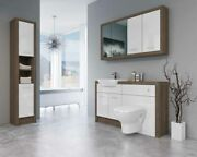 Bathroom Fitted Furniture 1400mm Truffle Brown Davos Oak / White Gloss Dh7 With