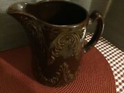 """Vintage Brown Crockery Pitcher 7x6 3/8""""with Design On Pitcher"""