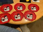 """Lot Of 6 7.5"""" X 6.5"""" Merry Christmas Snowman And Snowwoman Decorative Holiday Tins"""