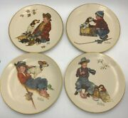 Norman Rockwell Four Seasons 4 Plates 1971 A Boy And His Dog W-error Rare It/594