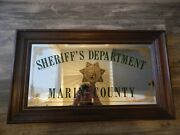 Marin County Sheriff's Department Mirror Sign California Vintage Htf Rare Police