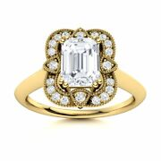 Certified Vintage Style Moissanite Diamond Halo Engagement Ring 14k Yellow Gold