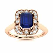 Certified Vintage Style Blue Sapphire Engagement Ring W/ Diamond 14k Rose Gold