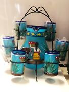 Mexican Hand Blown Glass/hand Painted Pitcher, 6 Glasses And Stand