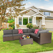 7 Pcs Outdoor Furniture Wicker Sectional Sofa With 2 Pillows And Tea Table Patio