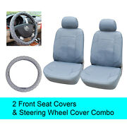 Gray Pu Leather 2 Front Car Seats Covers +steering Wheel Cover - 6a15302