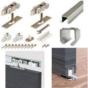 Hanging Sliding Wood Door And Closet Hardware Kit Rollers With Fixing Stoppers