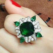 Thanksgiving 1.00ct Natural Diamond 14k Solid White Gold Emerald Cocktail Ring