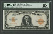 Fr1173a 10 1922 Gold Note Small Serial S Pmg 58 Choice Au Wlm8705