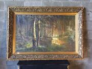 Oil Painting On Canvas Wooded Landscape With Birches