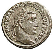 Constantine I The Great Silvered Follis Jupiter Alexandria Ric 9 About Ef