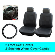 Black Pu Leather 2 Front Car Seats Covers +steering Wheel Cover - 6a15301