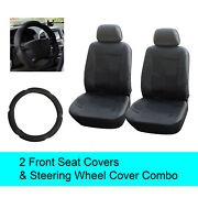 Black Pu Leather 2 Front Car Seats Covers +steering Wheel Cover - 6d15301