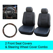Black Pu Leather 2 Front Car Seats Covers +steering Wheel Cover - 6c15901
