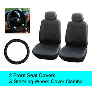Black Pu Leather 2 Front Car Seats Covers +steering Wheel Cover - 6b15301
