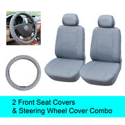 Gray Pu Leather 2 Front Car Seats Covers +steering Wheel Cover - 6a15902