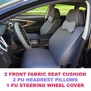 Gray Cloth 2 Front Car Seat Cover+2pu Leather Head Pillow+ Steering Wheel Cover