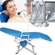 Ce Dental Turbine Unit W Air Compressor Suction System With Mobile Folding Chair