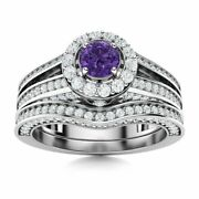 Certified 1.34 Ct Amethyst And Diamond Bridal Engagement Ring Set 14k White Gold