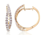 Christmas 1.20ct Natural Diamond 14k Solid Yellow Gold Clip On Hoops Earring
