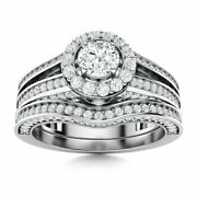 Certified 1.34 Ctw Topaz And Diamond Bridal Engagement Ring Set 14k White Gold