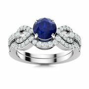 1.44 Ctw Natural Sapphire And Diamond Bridal Set Engagement Ring In 14k White Gold