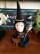 Primitive Halloween Fall Witch Doll With Cat Harvest