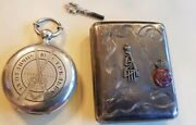 Russian Silver Box And Pocket Watch Sword Bravery Engraved Officer`s St Anna