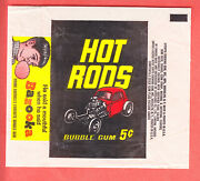1968 Topps  Hot Rods  5 Cents Wax Wrapper Nm