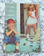 Vintage 1950's Child Inlaid Tray Puzzle Of Scolding Girl And Sad Boy Tracking In