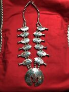 Vintage Navajo Jf Turquoise Chips Bird Squash Blossom Necklace