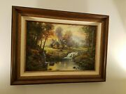 Deceased Rare Thomas Kinkade Mountain Retreat First Edition 2005 799 With Fra