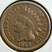 1863 - Bu Error Indian Head Cent - Luster - Grease Fill Obv - 2 Cracked Die Rev