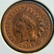 Lot 1907 Bu Bright Luster Red Copper Indian Head Penny