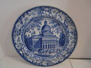 19th C. Blue And White Historical Staffordshire Boston State House Plate Ewands 10