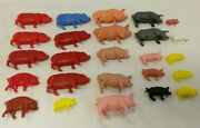 Lot Of 25 Vintage Hard Plastic Animals Toys -pigs Piglets Some Hong Kong -ibs