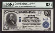 20 1902 First National Bank Marshall County Plymouth Indiana Ch 2119 Pmg 63 Epq
