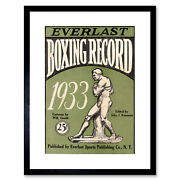 Sport Cover Boxing Record Everlast Figure Statue 1933 Usa Framed Print 12x16