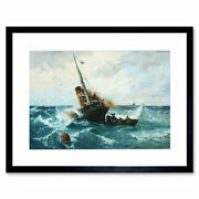 Painting Seascape Maritime Achenbach Paddle Steamer Framed Print 12x16 Inch