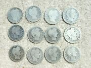 12 Barber Quarters - Silver Coins - Mixed Dates And Conditions - Bin