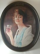 Vintage 70s Coca Cola Oval Platter Serving Tray Woman Holding Coca Cola Glass