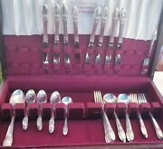 50 Piece Vintage 1847 Rogers Bros Silver Plated Flatware First Love Pre-owned.