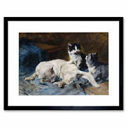 Painting Animals Adam Mother Cat Two Kittens Framed Print 12x16 Inch