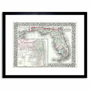 Map Antique Mitchell Florida State Usa Framed Print 9x7 Inch
