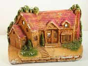 Carnival Chalkware Country Cottage Cabin House Tv Lamp Working