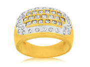 Wide 1.50ct Diamond 14kt Yellow Gold 3d Round And Princess Etoile Anniversary Ring