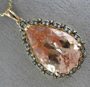 Large 10.82ct Chocolate Fancy Diamond And Aaa Morganite 14kt Rose Gold 3d Pendant