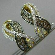 Wide .77ct White And Chocolate Fancy Diamond 14kt Yellow Gold 3d Clip On Earrings